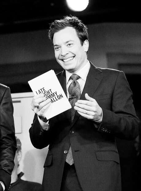 """This Feb. 18, 2013 photo released by NBC shows Jimmy Fallon, host of """"Late Night with Jimmy Fallon,"""" on the set in New York. NBC announced Wednesday, April 3, 2013 that Jimmy Fallon is replacing Jay Leno as the host of """"The Tonight Show"""" in spring 2014.  (AP Photo/NBC, Lloyd Bishop) Photo:  Lloyd Bishop, HOEP / NBC"""