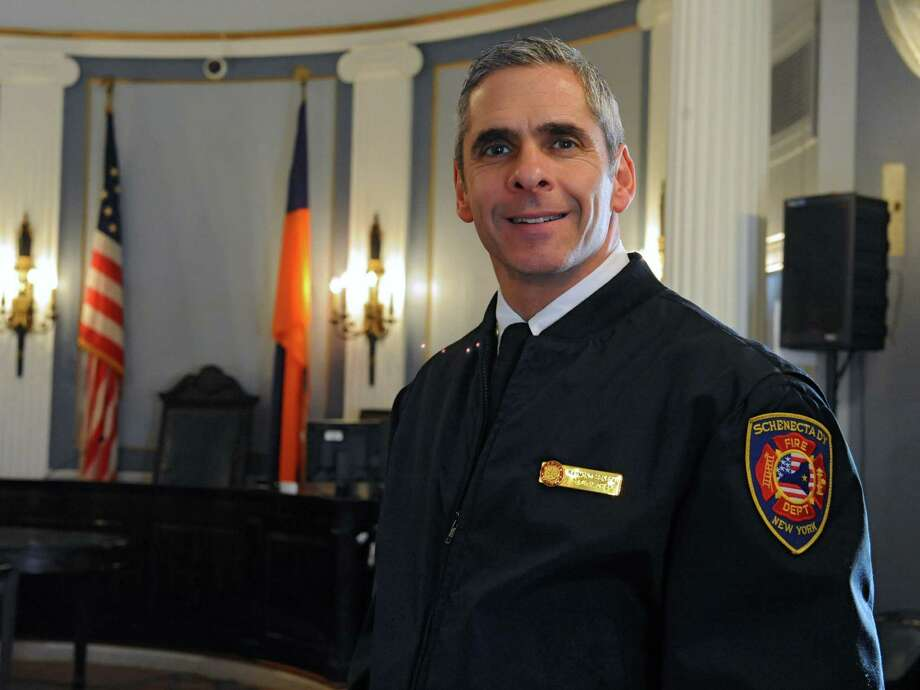 Schenectady's new fire chief Raymond Senecal stands in a court room at City Hall on Monday, Feb. 10, 2014 in Schenectady, N.Y.   (Lori Van Buren / Times Union) Photo: Lori Van Buren / 00025680A