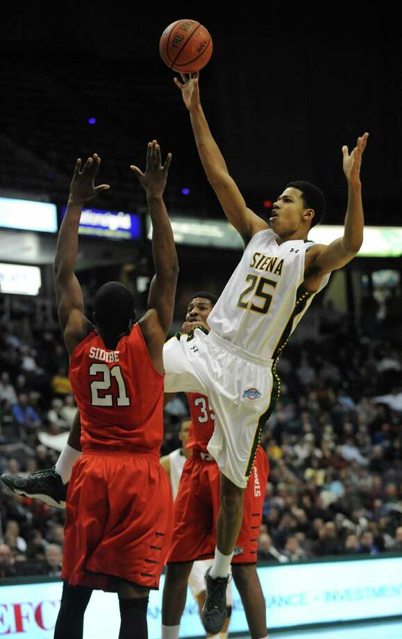 Siena's Michael Wolfe goes up for a shot during a basketball game against Fairfield at the Times Union Center Monday, Feb. 10, 2014 in Albany, N.Y.   (Lori Van Buren / Times Union) Photo: Lori Van Buren / 00025639A