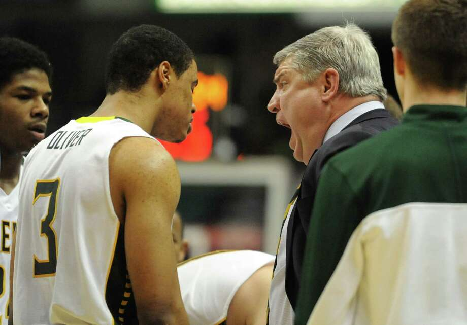 Siena coach Jimmy Patsos yells at Ryan Oliver at a time out during a basketball game against Fairfield at the Times Union Center Monday, Feb. 10, 2014 in Albany, N.Y.   (Lori Van Buren / Times Union) Photo: Lori Van Buren / 00025639A
