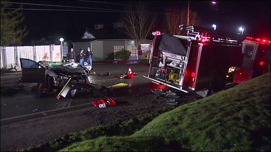 A driver was seriously injured Monday night when his car slammed into a Central Kitsap Fire & Rescue truck near the intersection of Highway 303 and Northeast Fairgrounds Road, north of Bremerton.