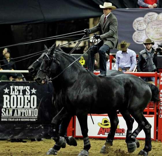 Jason Goodman, of Fort Collins, CO, Roman rides a team of Percheron draft horses during the San Anto