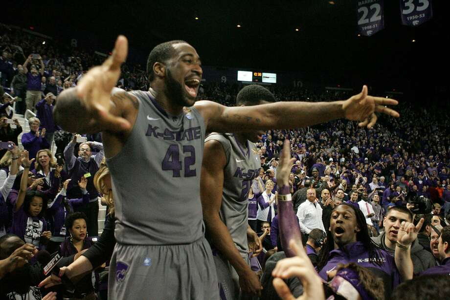 Kansas State's Thomas Gipson celebrates his team's overtime win over Kansas. Gipson had nine points and three rebounds. Photo: Scott Sewell, Reuters