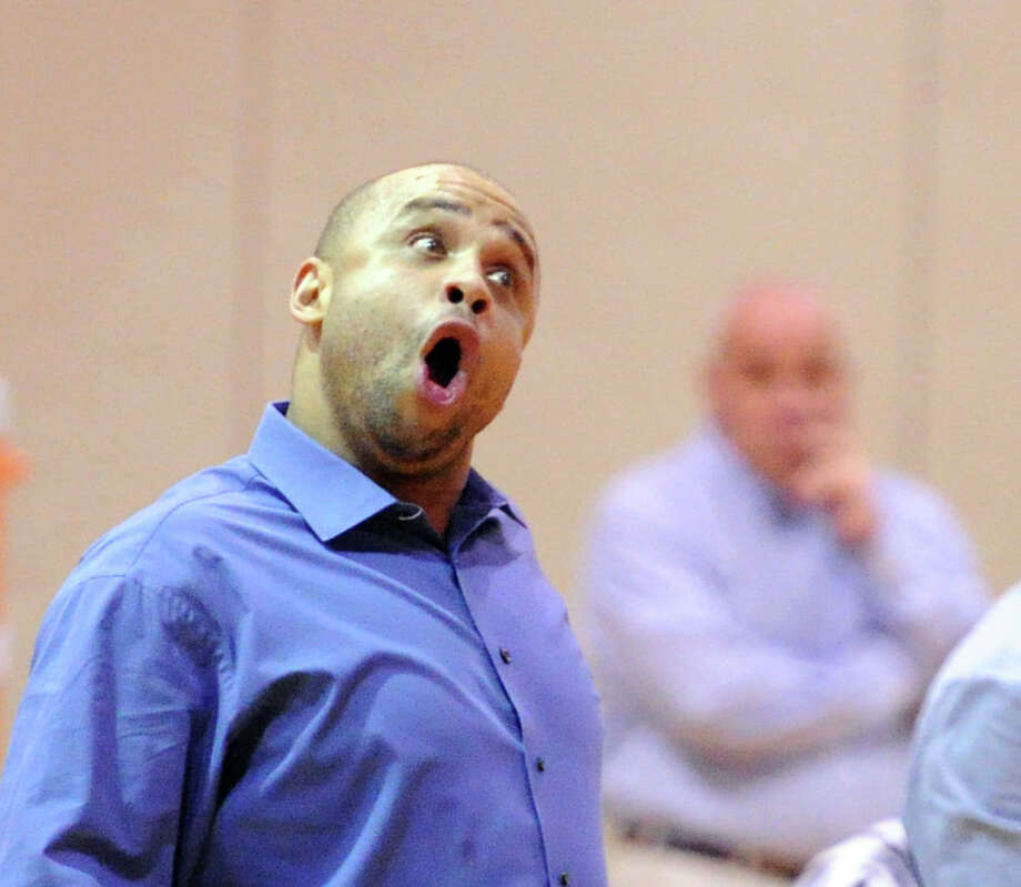 Harding basketball coach Charles Clemons reacts during the boys high school basketball game between Warren Harding High School and Greenwich High School at Greenwich, Friday night, Feb. 7, 2014. Photo: Bob Luckey / Greenwich Time