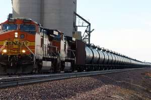 A BNSF Railway train hauls crude oil west of Wolf Point, Mont. in November 2013.