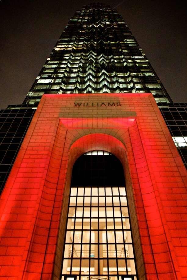 The entry to Williams Tower at 2800 Post Oak Blvd. is illuminated in red. (Hines) Photo: Hines