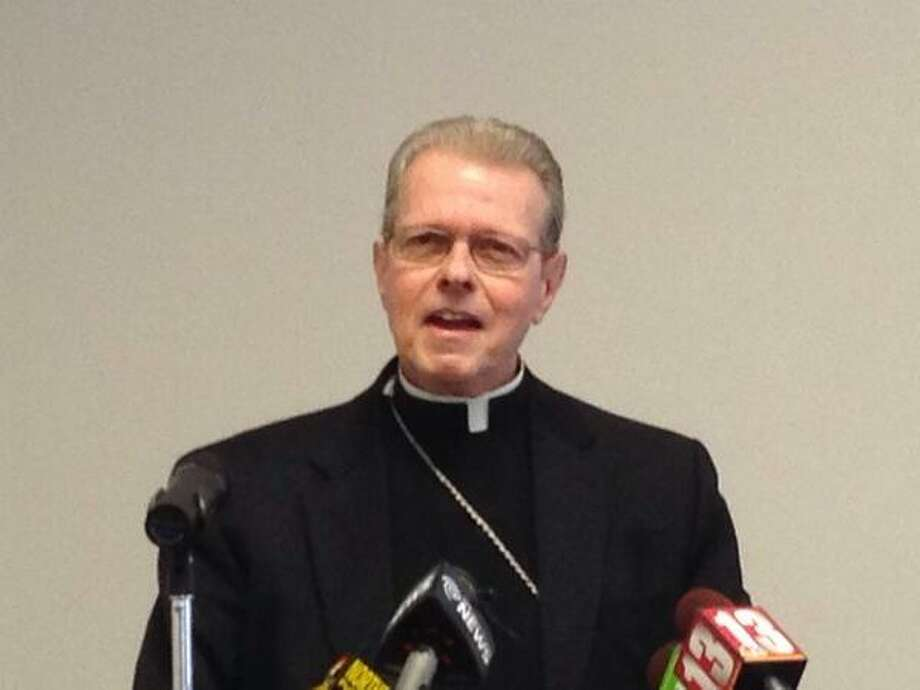Rev. Edward B. Scharfenberger, a 65-year-old monsignor and lawyer who played a significant role in how the Brooklyn diocese handled child sex abuse complaints, speaks Tuesday about his selection as the new bishop the Albany Roman Catholic Diocese. (Skip Dickstein / Times Union)