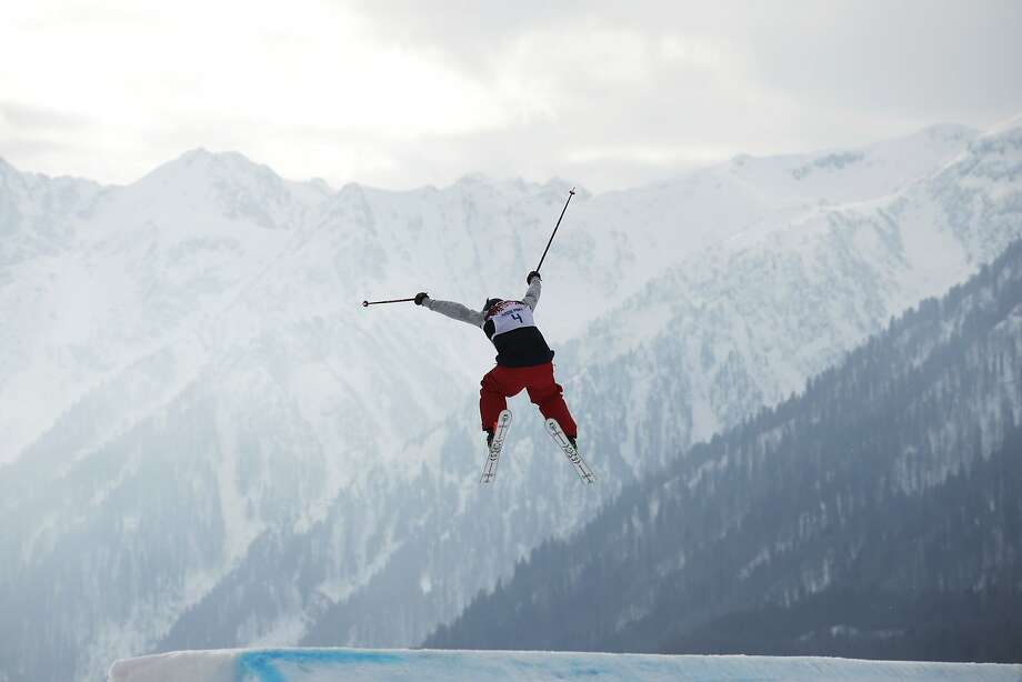 Devin Logan of the United States takes a jump during the women's freestyle skiing slopestyle qualifying at the Rosa Khutor Extreme Park, at the 2014 Winter Olympics, Tuesday, Feb. 11, 2014, in Krasnaya Polyana, Russia.  Photo: Jae C. Hong, Associated Press