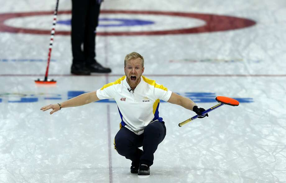 Sweden's Niklas Edin reacts during the men's curling round robin session 3 match between Sweden and Canada at the Ice Cube curling centre in Sochi on February 11, 2014 during the 2014 Sochi winter Olympics.  Photo: Adrian Dennis, AFP/Getty Images