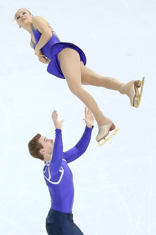 Julia Lavrentieva and Yuri Rudyk of Ukraine compete during the Figure Skating Pairs Short Program on day four of the Sochi 2014 Winter Olympics at Iceberg Skating Palace on February 11, 2014 in Sochi, Russia. Photo: Matthew Stockman, Getty Images