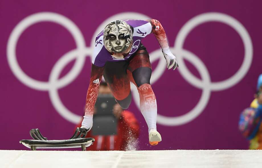 Canada's Sarah Reid takes off during Skeleton training at the Sanki Sliding Center in Rosa Khutor during the Sochi Winter Olympics on February 11, 2014. Photo: Leon Neal, AFP/Getty Images