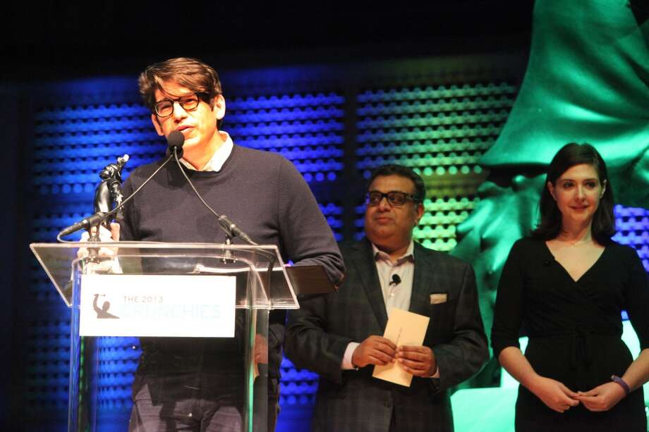 Yancey Strickler, Kickstarter's founder, accepts Winning award for the 'Best Overall Startup of 2013' at the TechCrunch's annual award show at Davies Symphony Hall in  San Francisco Calif. on Feb. 10, 2014.(Deborah Svoboda/ San Francisco Chronicle) Photo: Deborah Svoboda, The Chronicle