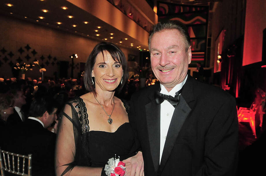 Karla and Steve Thomas after telling his story of having a heart attack at the American Heart Association's 31st Annual Houston Heart Ball at The Hobby Center Saturday 02/08/14. Photo by Tony Bullard. Photo: © Tony Bullard 2014, For The Chronicle / © 2014 Tony Bullard