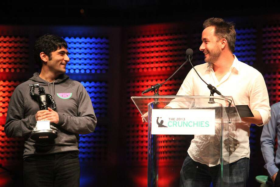 Arash Ferdowsi (left) and Drew Houston of Dropbox won Founder of the Year honors in February at TechCrunch's annual award show at Davies Symphony Hall in S.F. Among the products announced by the company Wednesday is an expanded version of its mobile e-mail tool. Photo: Deborah Svoboda, The Chronicle