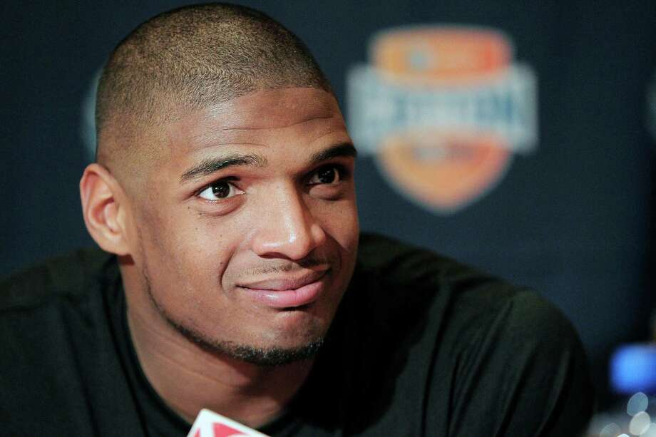 FILE - In this Jan. 1, 2014, file photo, Missouri senior defensive lineman Michael Sam speaks to the media during an NCAA college football news conference in Irving, Texas. Sam says he is gay, and he could become the first openly homosexual player in the NFL. (AP Photo/Brandon Wade, File) Photo: Brandon Wade, FRE / FR168019 AP