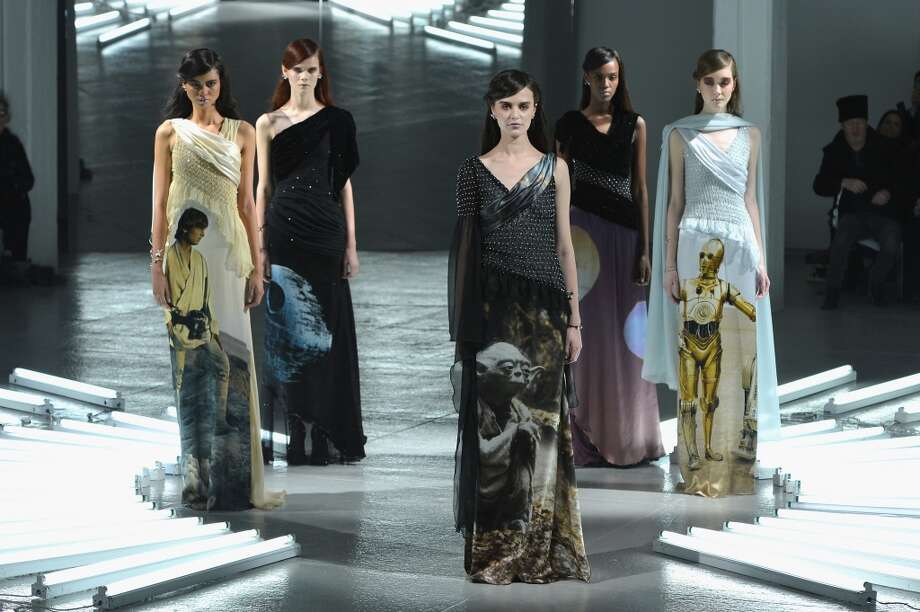 Models pose on the runway at the Rodarte fashion show during Mercedes-Benz Fashion Week Fall 2014 at Center 548 on February 11, 2014 in New York City.  (Photo by Slaven Vlasic/Getty Images) Photo: Slaven Vlasic, Getty Images