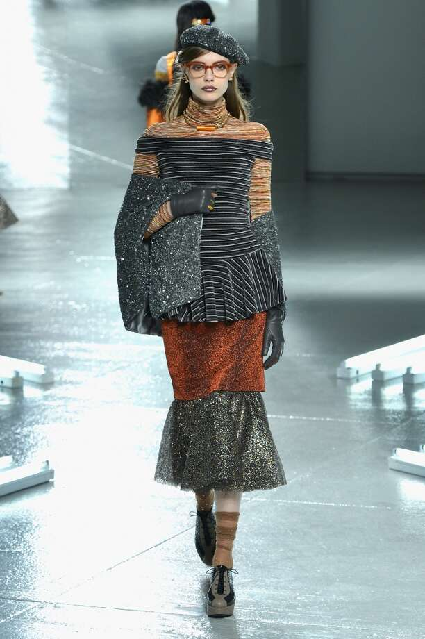 A model walks the runway at the Rodarte fashion show during Mercedes-Benz Fashion Week Fall 2014 at Center 548 on February 11, 2014 in New York City.  (Photo by Slaven Vlasic/Getty Images) Photo: Slaven Vlasic, Getty Images