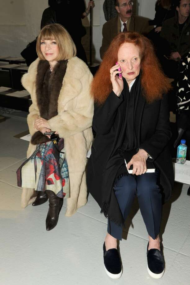Anna Wintour (L) and Grace Coddington attend the Rodarte fashion show during Mercedes-Benz Fashion Week Fall 2014 at Center 548 on February 11, 2014 in New York City.  (Photo by Ben Gabbe/Getty Images) Photo: Ben Gabbe, Getty Images