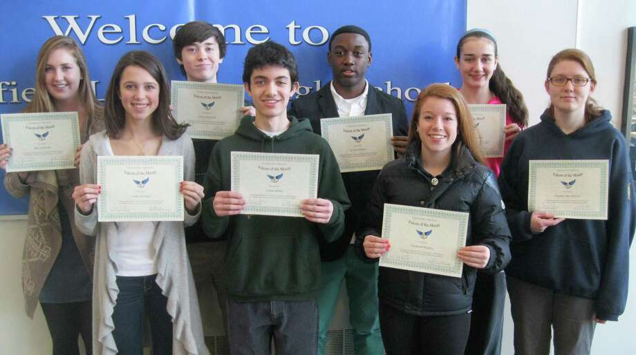 JANUARY'S FALCONS OF THE MONTH These eight Fairfield Ludlowe High School students were cited as Falcons of the Month for January because they are dependable, the school said. Each month, Ludlowe staff nominate students for displaying a certain characteritic noted in the school's mission statement. For January, that characteristic was having a commitment to obligations --- including obligations to themselves and others. From left, the honorees are Ellie Schroeder, Sarah Jennings, Peter OíDonnell, Callum Biliki, Leroy Nicholas, Liz Buckley Alexandra McKinnon and Meghan Maciejewski. Photo: Contributed Photo / Fairfield Citizen contributed