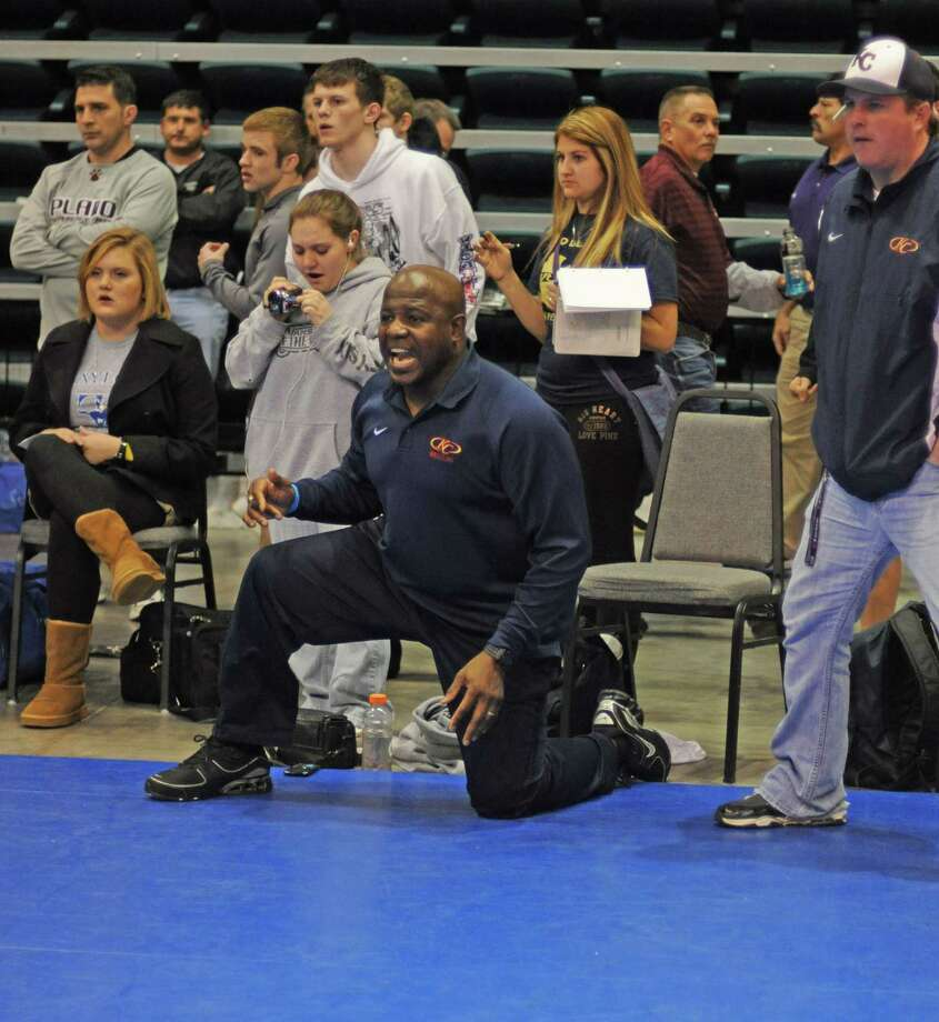 Klein Collins wrestling coach Kenny Rucker during the Region 3 Meet on 2-11-11 at the Merrell Center in Katy. Photo: L. Scott Hainline / freelance
