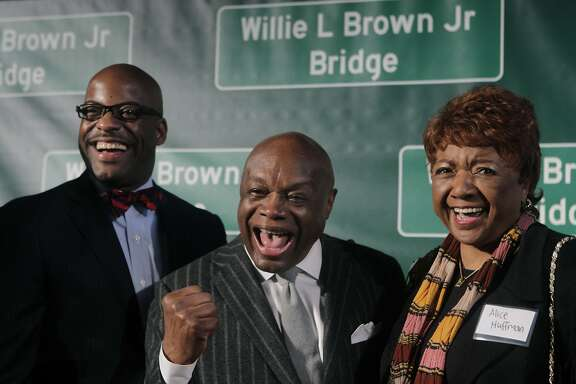 Willie Brown stands between state Assemblyman Isadore Hall, from Compton, and Alice Huffman, president of the California chapter of the NAACP, at a ceremony on Treasure Island to dedicate the renaming of the western Bay Bridge span after Willie Brown in San Francisco, Calif. on Tuesday, Feb. 11, 2014. Hall introduced the legislation to rename the bridge at the suggestion of Huffman.