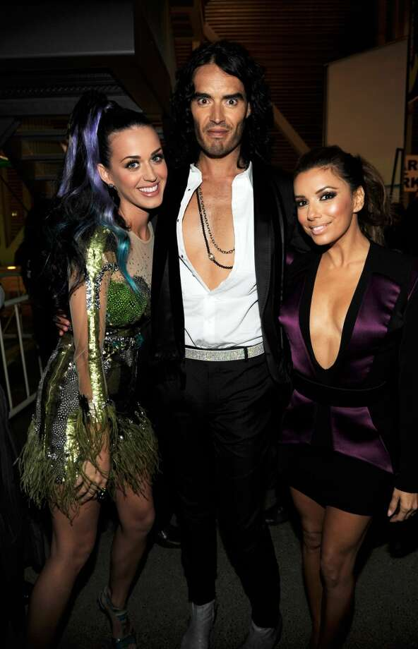 Katy Perry, Russell Brand and Eva Longoria Parker backstage during the MTV Europe Music Awards 2010.  (Photo by Kevin Mazur - MTV 2010/WireImage) Photo: Kevin Mazur - MTV 2010, WireImage