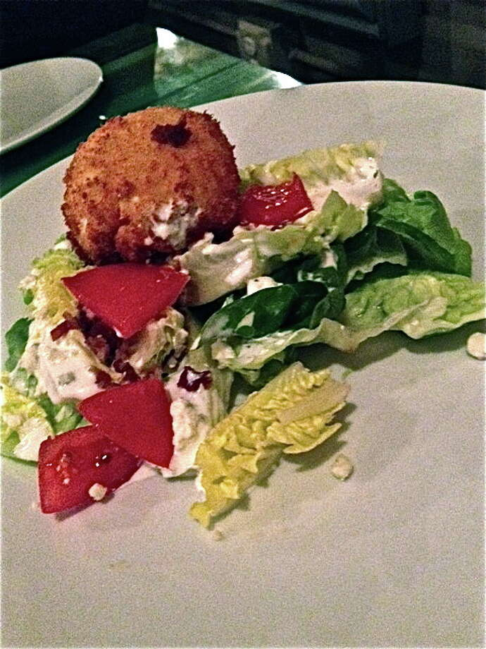 Butter lettuce salad with lamb bacon, blue cheese and buttermilk dressing, plus a deep-fried egg. Photo: Alison Cook
