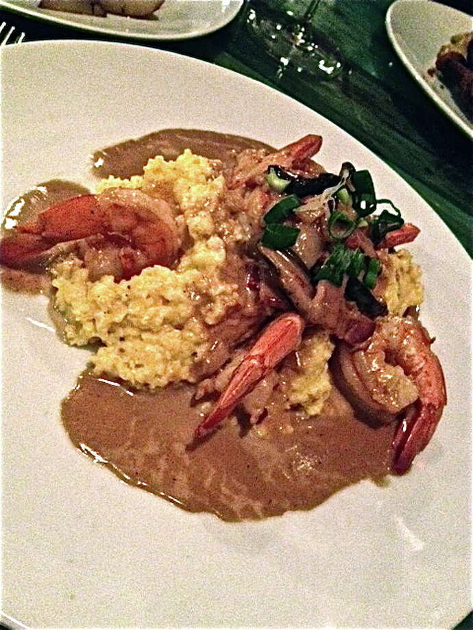 Shrimp and grits with bacon gravy at Heights General Store. Photo: Alison Cook