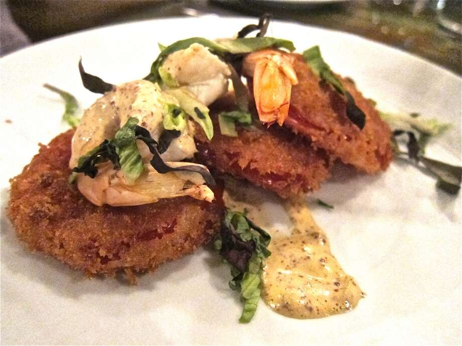 Fried tomatoes with pickled shrimp and remoulade at Heights General Store. Photo: Alison Cook