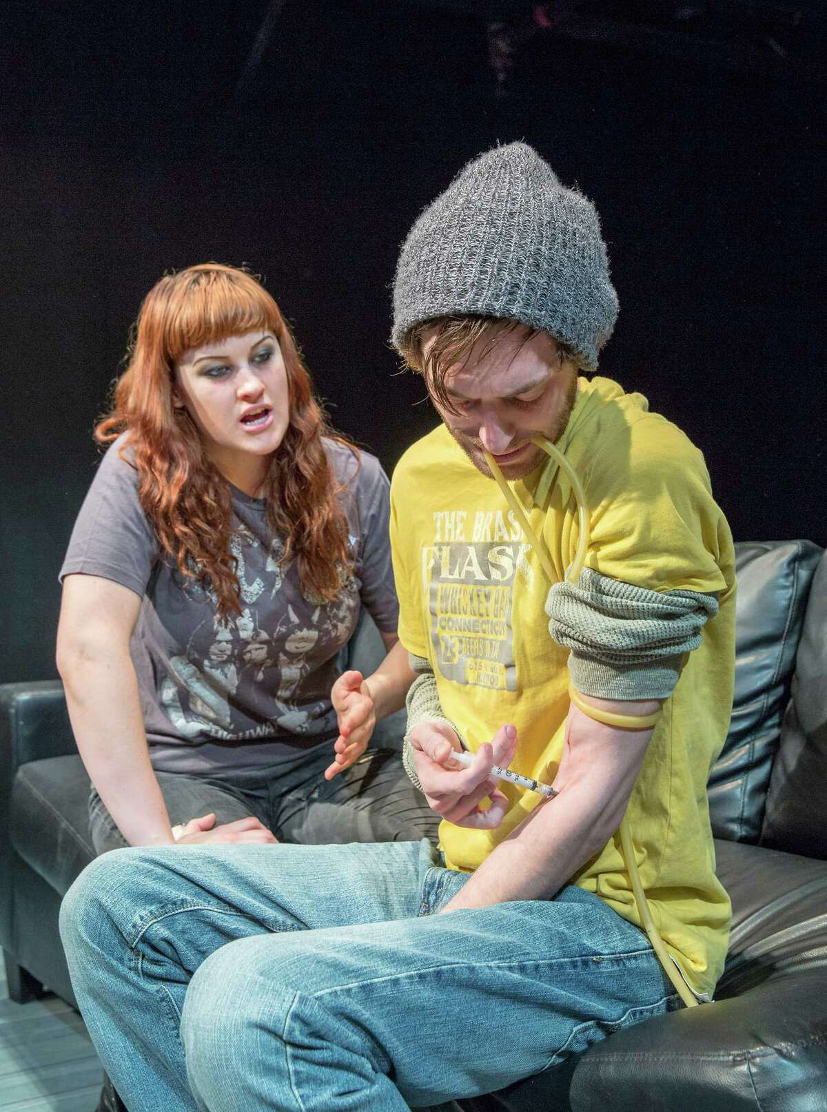 """Scenes from Catastrophic Theatre's upcoming world premiere of Miki Johnson's """"clean/through,"""" 1119 Providence Street. L-R ID: Jessica Janes (Rachael) and John DeLoach (Nick). 1/26/14 (Craig H. Hartley/For the Chronicle)"""