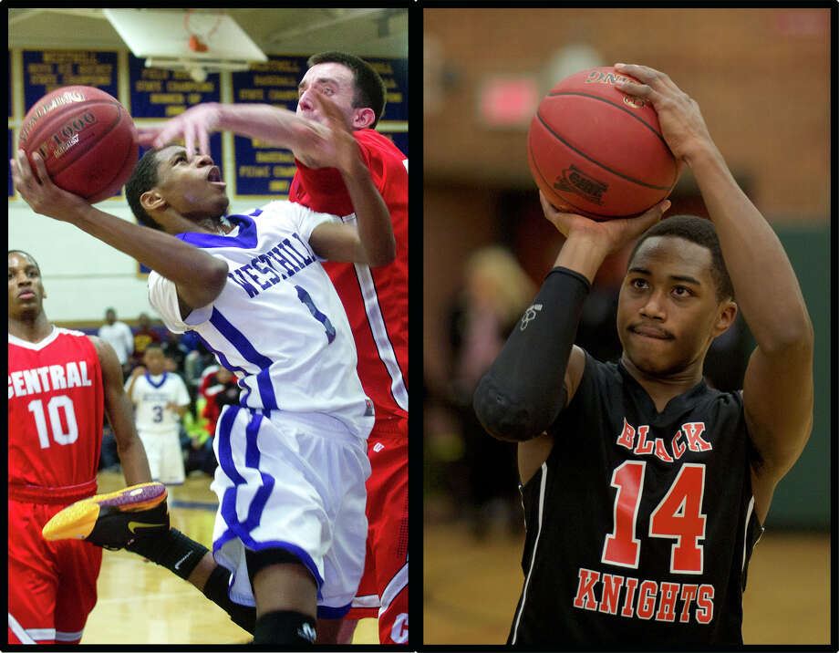 Westhill's Jeremiah Livingston, left, and Stamford's Kenny Wright go head-to-head Wednesday night in a highly-anticipated city clash. Photo: File Photo / Stamford Advocate File Photo