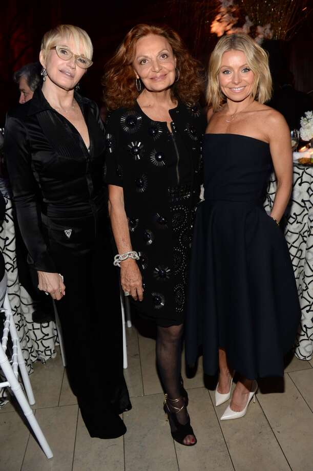 (L-R) Actress Ellen Barkin, fashion designer Diane Von Furstenberg and TV personality  Kelly Ripa attend the Great American Songbook event honoring Bryan Lourd at Alice Tully Hall on February 10, 2014 in New York City.  (Photo by Theo Wargo/Getty Images for Lincoln Center) Photo: Theo Wargo, Getty Images For Lincoln Center