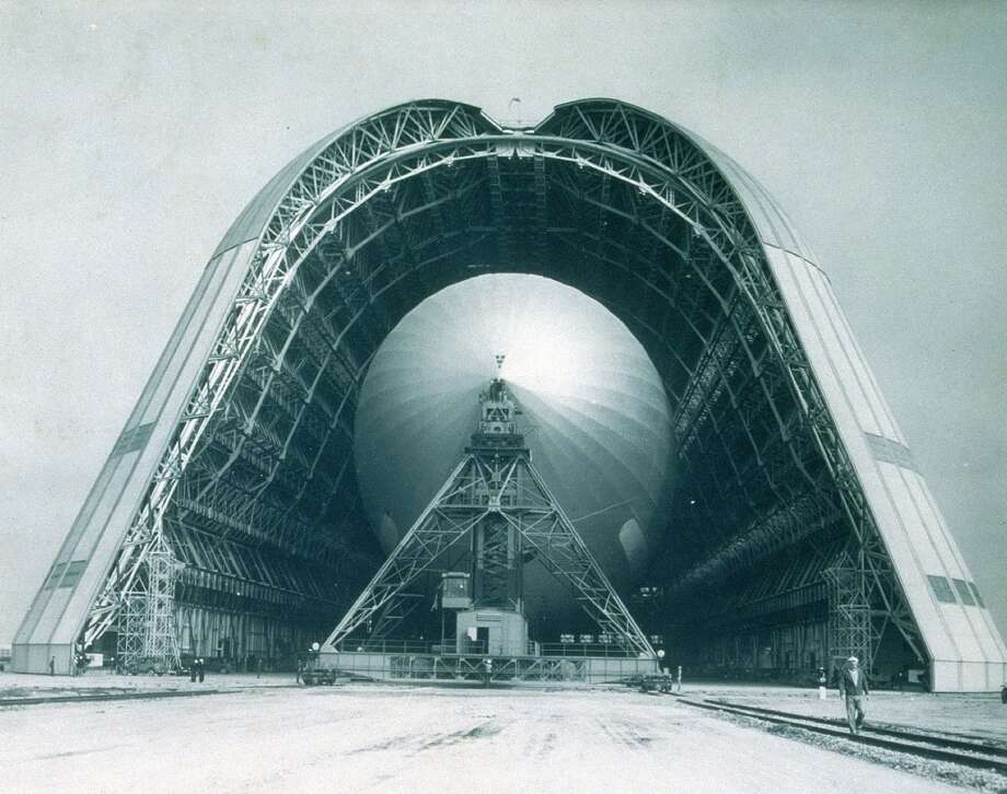 The USS Macon first arrived at Moffett Field on October 16, 1933 and was housed at Hanger One. The hanger was designed and built for the Macon and is still in existence today. (Courtesy of Wiley Collection, Monterey Maritime & History Museum)