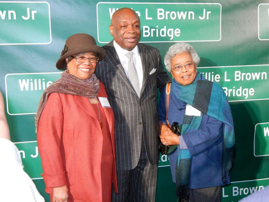 Blanche Brown (at left) with her husband, Willie L. Brown, Jr., and her sister, Julia Vitero, at the Treasure Island ceremony renaming the Western span of the Bay Bridge in honor of the former mayor and longtime Speaker of the CA State Assembly. Photo: Catherine Bigelow