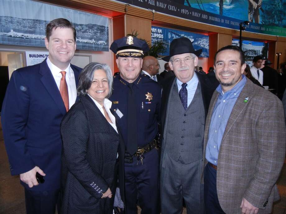 Supervisor Mark Farrell (at left) with Susan Leal, SFPD Chief Greg Suhr, Richard Johns and Rec & Park GM Phil Ginsburg Photo: Catherine Bigelow