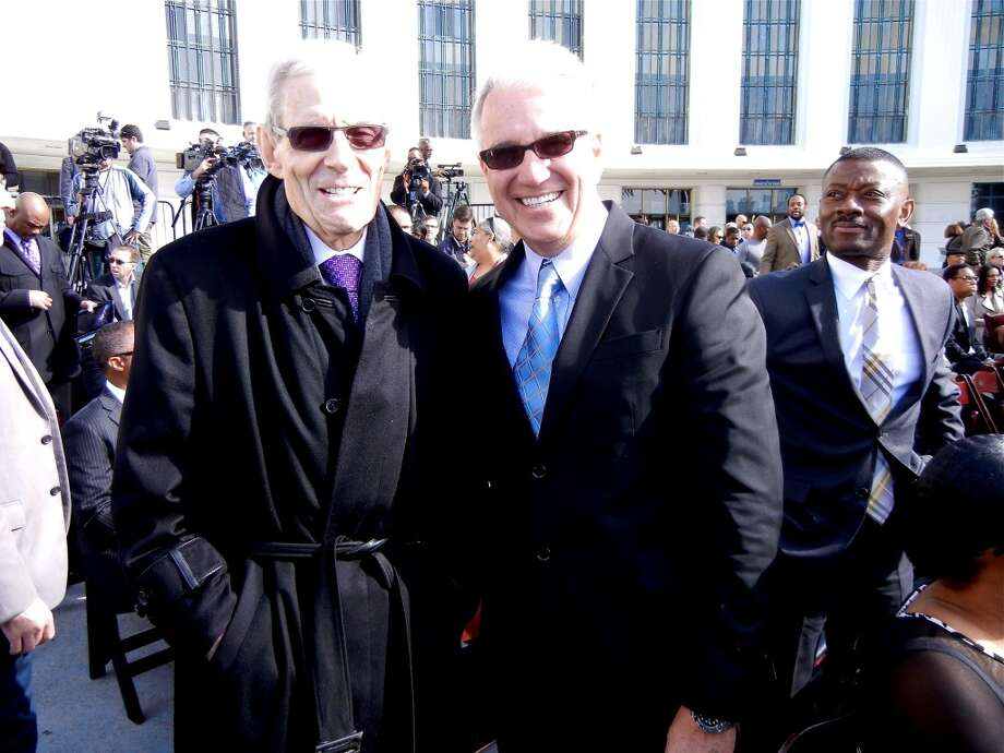 The Godfather & The Enforcer: Attorney Steven Kay (at left) and District Attorney George Gascon Photo: Catherine Bigelow