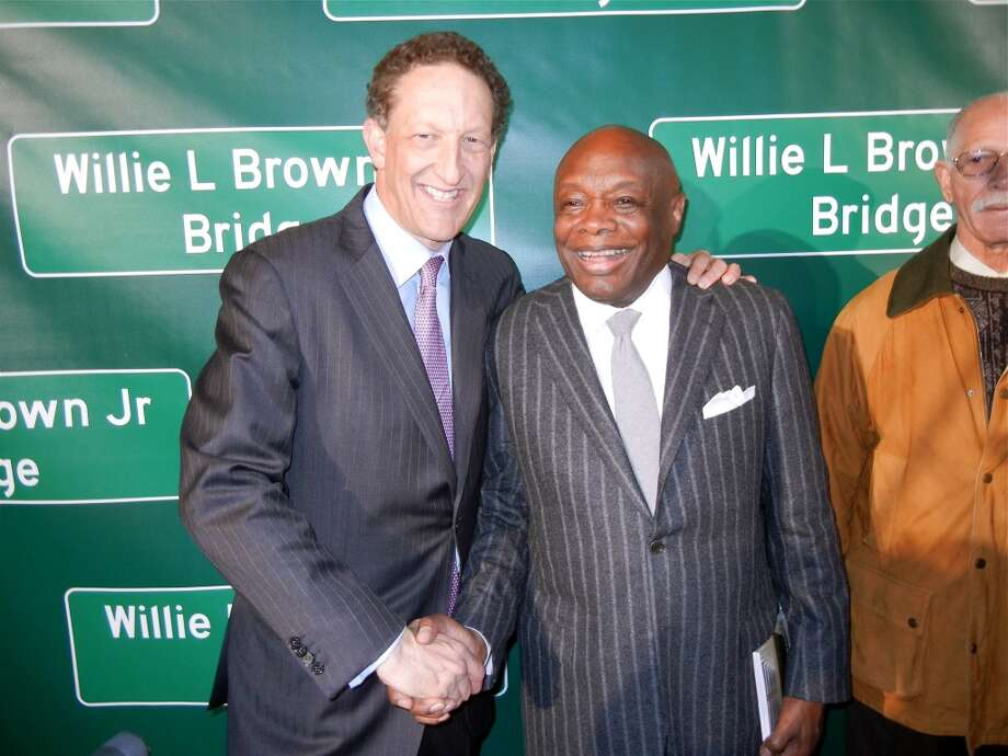 SF Giants CEO Larry Baer (at left) and Willie Brown Photo: Catherine Bigelow