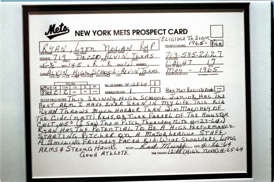 Nolan Ryan was drafted by the Mets in the 12th round of the 1965 draft. Pictured is New York scout Red Murff's glowing report on Ryan in 1964 Photo: Kerwin Plevka, Houston Chronicle File
