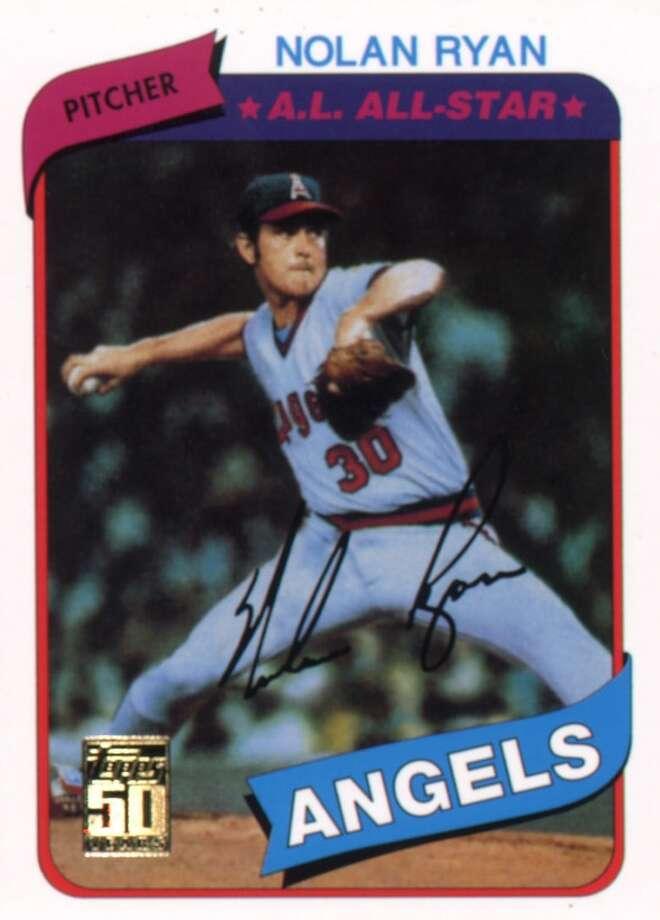 A shot of a Nolan Ryan autographed baseball card. Photo: Handout