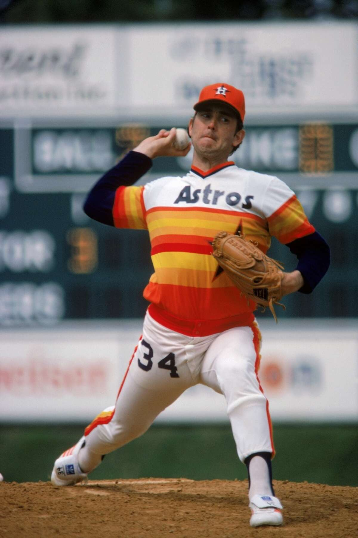 ASTROS 4. Nolan Ryan, No. 34 He's Texas baseball royalty. There are few more iconic sights in Astros history than Ryan dominating hitters while wearing the rainbow jersey. How popular is Ryan? His throwback jerseys are the highest-selling in Kansas and North Carolina.