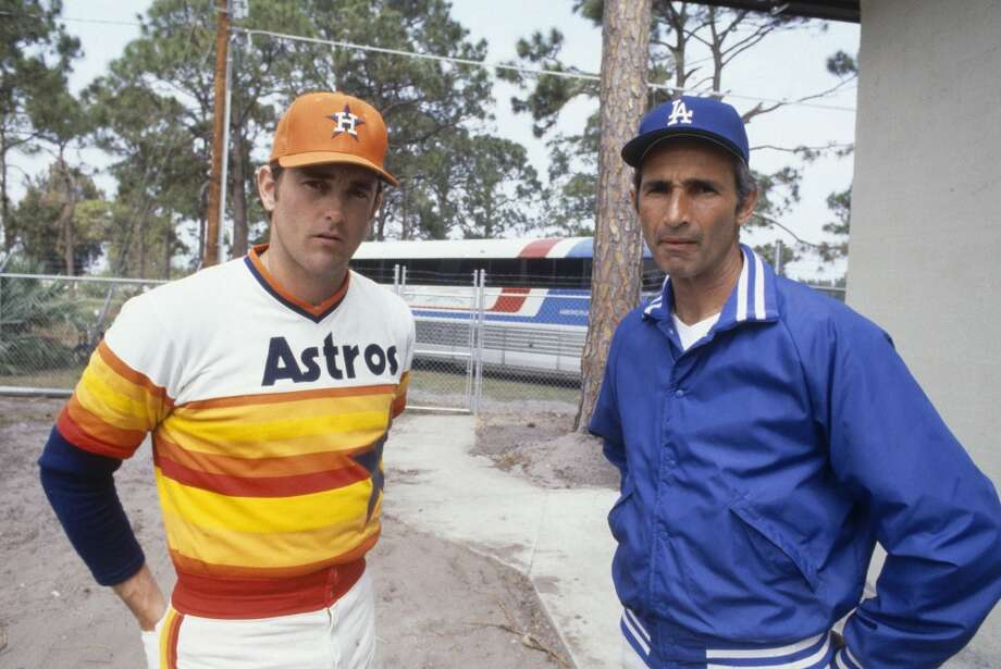 Nolan Ryan as an Astro with Hall of Fame pitcher Sandy Koufax during spring training in 1980. Photo: Focus On Sport, Getty Images