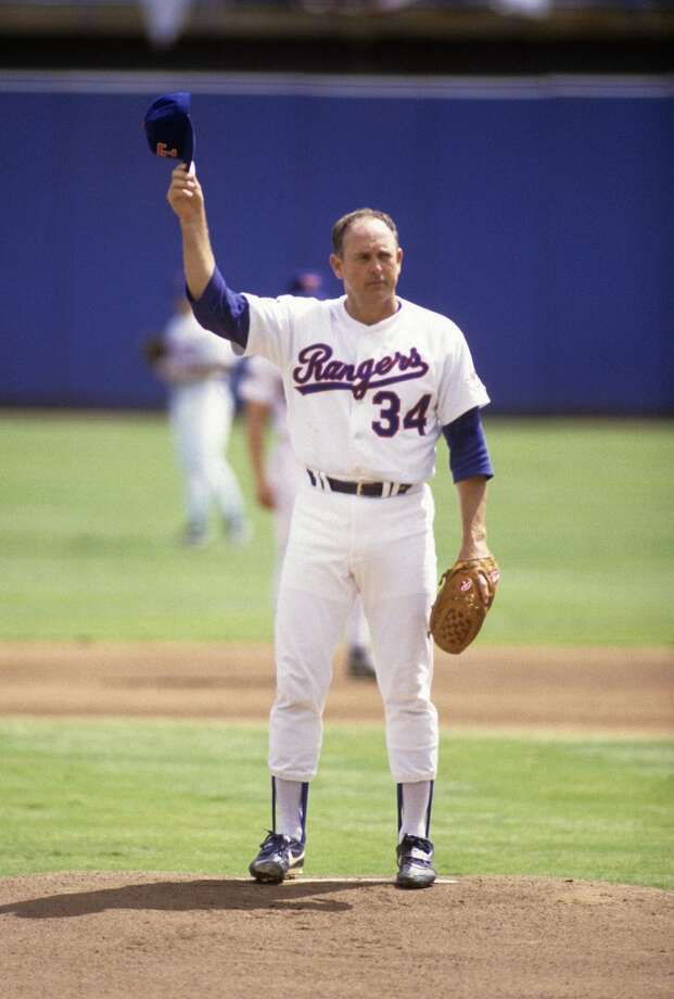 Nolan Ryan with the Rangers in 1990. Photo: Focus On Sport, Getty Images