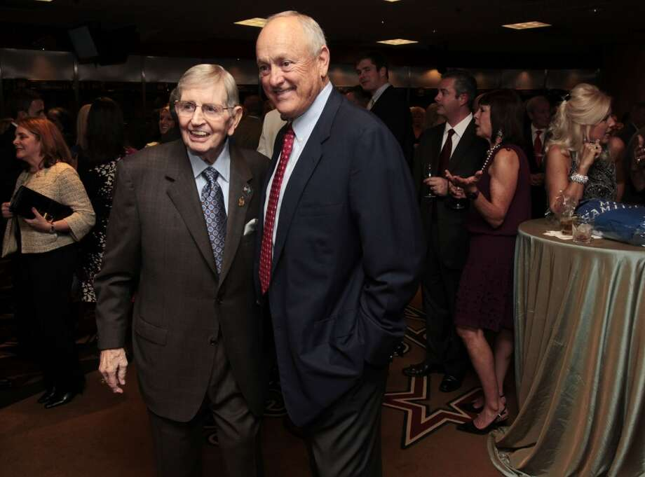 Former Astros broadcaster Milo Hamilton with Nolan Ryan. The Astros honored Hamilton Oct. 16, 2012, during the Blue Star Gala saluting his Hall of Fame career. Photo: Billy Smith II, Houston Chronicle