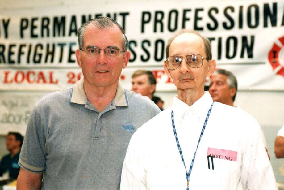 Walt Wheeler, right, with former Albany County Executive Mike Breslin at a labor event in an undated photo. (Photo courtesy Labor Federation)
