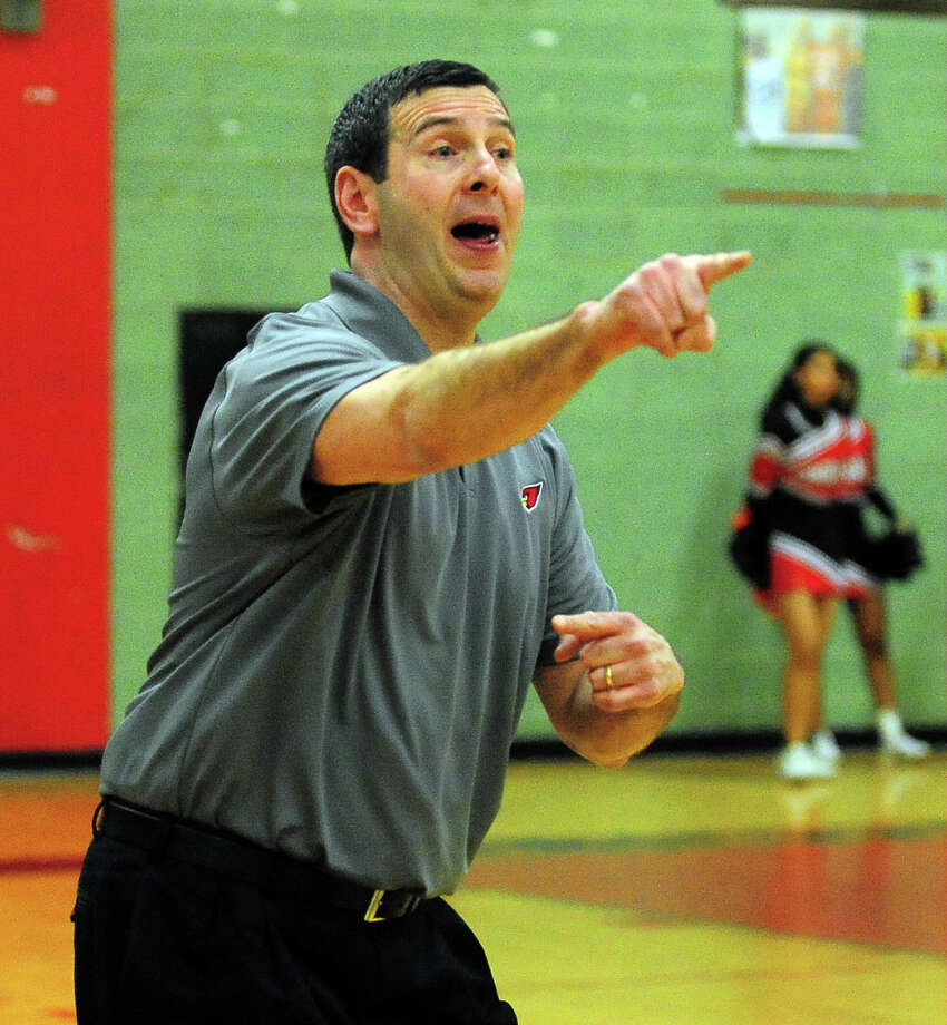 Greenwich Head Coach Bill Brehm, during boys basketball action against Central in Bridgeport, Conn. on Tuesday February 10, 2014. Photo: Christian Abraham / Connecticut Post