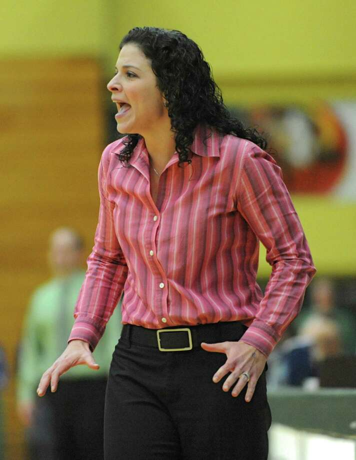Shaker head coach Emily Caschera-Blowers yells from the sideline during a basketball game against Shenendehowa at Siena College on Tuesday, Feb. 11, 2014 in Loudonville, N.Y.  (Lori Van Buren / Times Union) Photo: Lori Van Buren / 00025711A