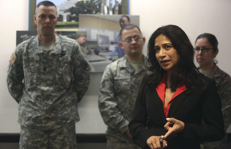 Texas Secretary of State Nandita Berry talks about military voting as she visits the 502d Air Base Wing Headquarters at Joint Base San Antonio - Fort Sam Houston. Photo: Lisa Krantz / San Antonio Express-News / SAN ANTONIO EXPRESS-NEWS