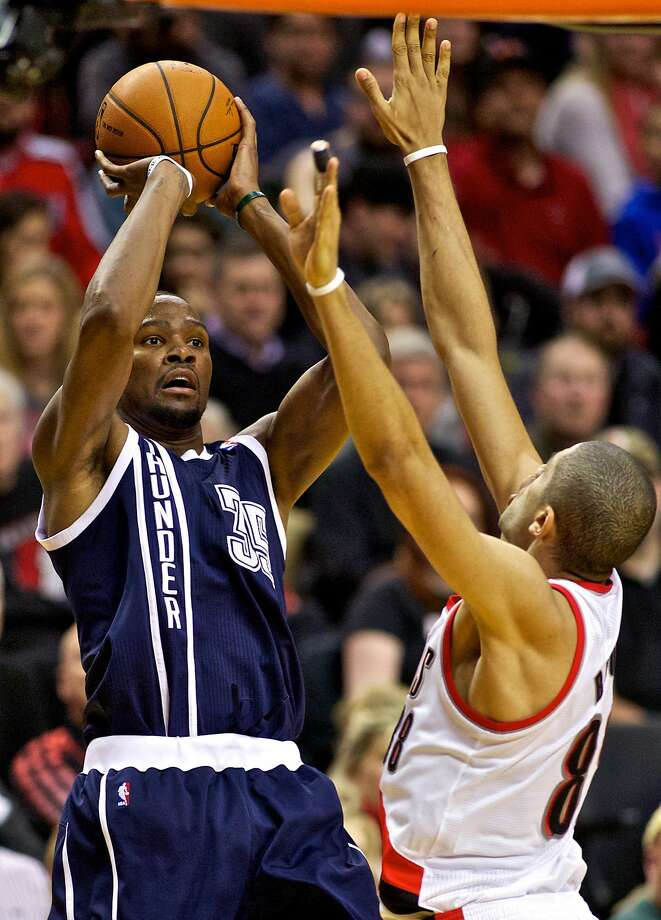 Kevin Durant scored 36 for the conference-leading Thunder against Portland. Photo: Craig Mitchelldyer, Reuters