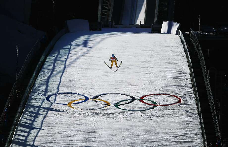 Eetu Vaehaesoeyrinki of Finland jumps during the Nordic Combined Individual NH / 10 km during day five of the Sochi 2014 Winter Olympics at RusSki Gorki Jumping Center on February 12, 2014 in Sochi, Russia. Photo: Ryan Pierse, Getty Images