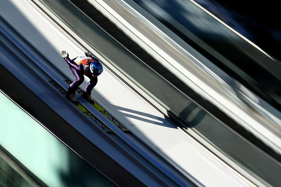 Ilkka Herola of Finland competes in a trial jump during the Nordic Combined Individual Gundersen Normal Hill and 10km Cross Country on day 5 of the Sochi 2014 Winter Olympics at the RusSki Gorki Ski Jumping Center on February 12, 2014 in Sochi, Russia. Photo: Lars Baron, Getty Images